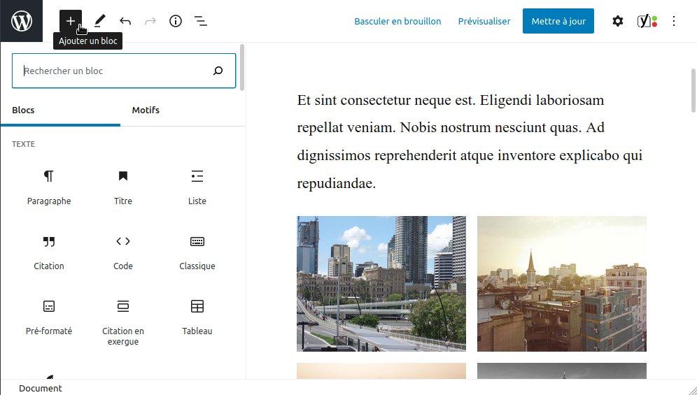 WordPress 5.5 : nouveau panneau d'ajout de bloc