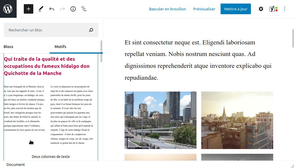 WordPress 5.5 : motifs de blocs